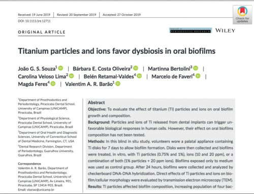 "Are particules titanium related to the risk of peri-implantitis – publication in the ""Journal of Periodontal Research"" – Nov. 2019"